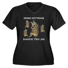 Irish Kitteh Women's Plus Size V-Neck Dark T-Shirt