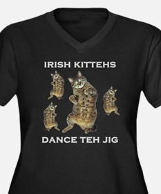 Irish Kitteh Women's Plus Size V-Neck Dark T-Shirt