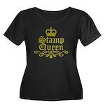 Gold Stamp Queen Women's Plus Size Scoop Neck Dark