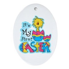 1st Easter Chickie Oval Ornament