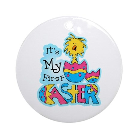 1st Easter Chickie Ornament (Round)