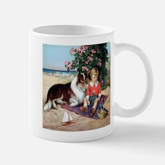 Collie on the Beach Mug