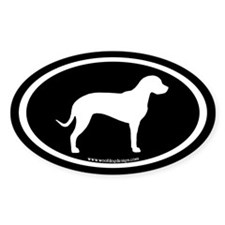 Catahoula Oval (white on black) Oval Decal