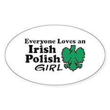 Irish Polish Girl Oval Decal