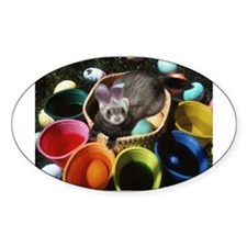Easter Ferret Oval Decal