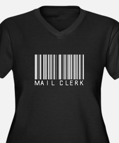 Mail Clerk Barcode Women's Plus Size V-Neck Dark T