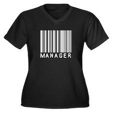 Manager Barcode Women's Plus Size V-Neck Dark T-Sh