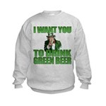 Uncle Sam Green Beer Kids Sweatshirt