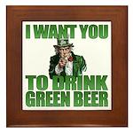 Uncle Sam Green Beer Framed Tile