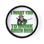 Uncle Sam Green Beer Wall Clock