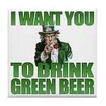 Uncle Sam Green Beer Tile Coaster