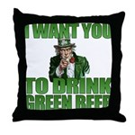 Uncle Sam Green Beer Throw Pillow