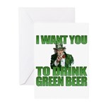 Uncle Sam Green Beer Greeting Cards (Pk of 20)