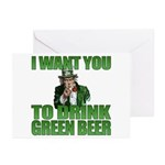 Uncle Sam Green Beer Greeting Cards (Pk of 10)