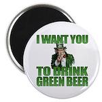 Uncle Sam Green Beer Magnet