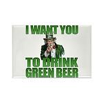 Uncle Sam Green Beer Rectangle Magnet