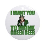 Uncle Sam Green Beer Ornament (Round)