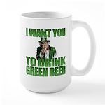 Uncle Sam Green Beer Large Mug