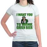 Uncle Sam Green Beer Jr. Ringer T-Shirt