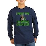 Uncle Sam Green Beer Long Sleeve Dark T-Shirt