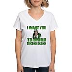 Uncle Sam Green Beer Women's V-Neck T-Shirt