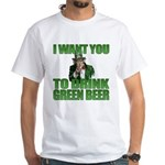 Uncle Sam Green Beer White T-Shirt