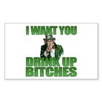Uncle Sam Drink Up Bitches Rectangle Sticker