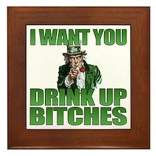 Uncle Sam Drink Up Bitches Framed Tile