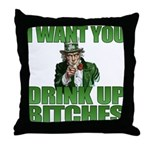 Uncle Sam Drink Up Bitches Throw Pillow