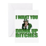 Uncle Sam Drink Up Bitches Greeting Cards (Pk of 2