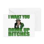 Uncle Sam Drink Up Bitches Greeting Cards (Pk of 1