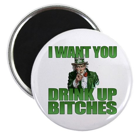 """Uncle Sam Drink Up Bitches 2.25"""" Magnet (100 pack)"""