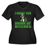 Uncle Sam Drink Up Bitches Women's Plus Size V-Nec