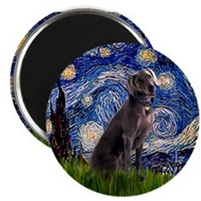 Starry Night & Weimaraner Magnet