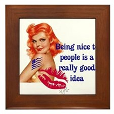 Be Nice Redhead Pinup T-Shirt Framed Tile