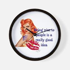 Be Nice Redhead Pinup T-Shirt Wall Clock