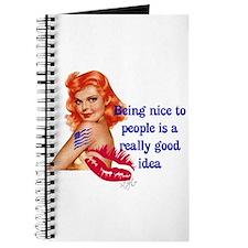 Be Nice Redhead Pinup T-Shirt Journal