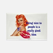 Be Nice Redhead Pinup T-Shirt Rectangle Magnet