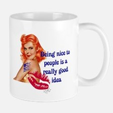 Be Nice Redhead Pinup T-Shirt Mug
