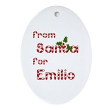 From Santa For Emilio Oval Ornament