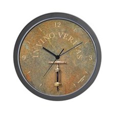 'IN VINO VERITAS' wine clock, antique corkscrew