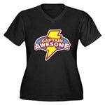 Captain Awesome Women's Plus Size V-Neck Dark T-Sh