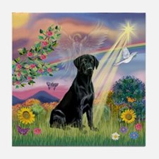 Cloud Angel & Black Lab Tile Coaster