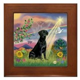 Black lab angel Framed Tiles