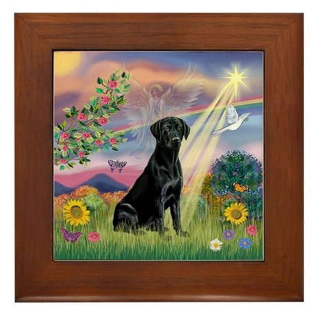 Cloud Angel & Black Lab Framed Tile