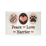 Peace Love Harrier Rectangle Magnet