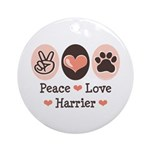 Peace Love Harrier Ornament (Round)