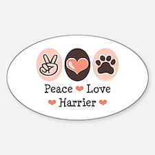 Peace Love Harrier Oval Decal