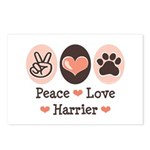 Peace Love Harrier Postcards (Package of 8)