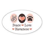 Peace Love Havanese Oval Sticker